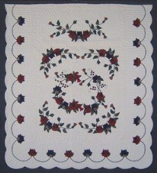 Custom Amish Quilts - Burgundy Navy Roses Flowers Applique