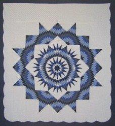 Custom Amish Quilts - Broken Blue Mariners Compass Star Burst
