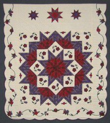 Custom Amish Quilts - Purple Red Flower Lone Star Applique