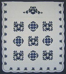 Custom Amish Quilts - Blue Navy Green Country Bride Applique Border