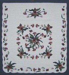 Custom Amish Quilts - Garden Poppy Flower Applique