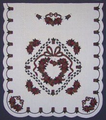 Custom Amish Quilts - Burgundy Rose Heart Wreath Applique Border