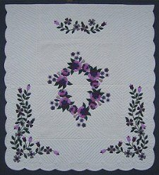Custom Amish Quilts - Pink Lavendar Roses Flower Border Applique