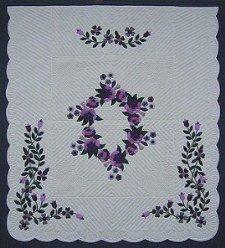 Custom Amish Quilts - Pink Lavendar Roses Flower Border Applique