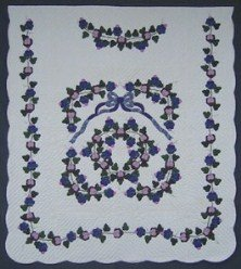 Custom Amish Quilts - Grapes Blue Lavendar Purple Applique Border