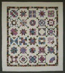 Custom Amish Quilts - Sampler Patchwork Green Rose