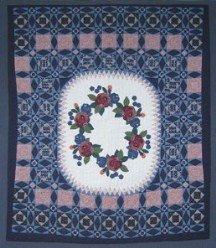 Custom Amish Quilts - Applique Navy Rose Dutch Patchwork