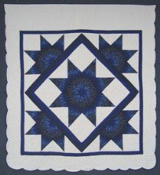 Custom Amish Quilts - Navy Blue Lone Star Framed Stars Patchwork