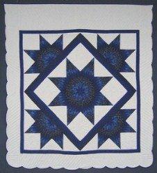 Custom Amish Quilts - Navy Blue Lone Star Framed Stars Patchwork