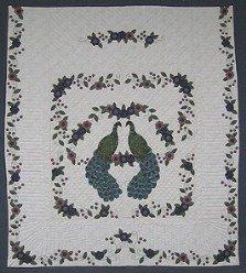 Custom Amish Quilts - Pair Regal Peacocks Flowers Border Applique
