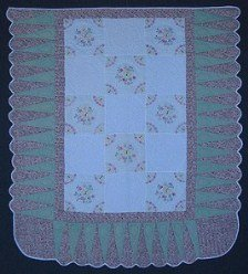 Custom Amish Quilts - Hand Embroidered Flower Green Rose Patchwork