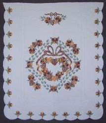 Custom Amish Quilts - Gold Brown Country Rose Wreath Bow Applique