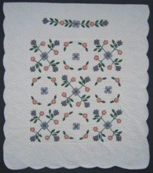 Custom Amish Quilts - Spring Flower Applique Coral Blue