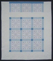 Custom Amish Quilts - Blue White Snowflake Hand Embroidered
