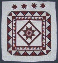 Custom Amish Quilts - Burgundy Patchwork Framed Lonestar