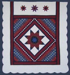 Custom Amish Quilts - Framed Lone Star in Commons Red Blue