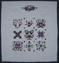 Custom Amish Quilts - Purple Lavendar Green Sampler Applique