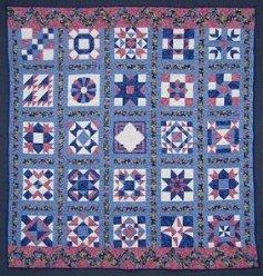 Custom Amish Quilts - Blue Navy Rose Sampler Patchwork