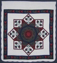 Custom Amish Quilts - Jacobs Lily Lone Star Burgundy Green Patchwork