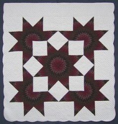 Custom Amish Quilts - Olive Brown Burgundy Lone Star Stars Patchwork