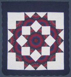 Custom Amish Quilts - Broken Lone Star in Star Navy Red