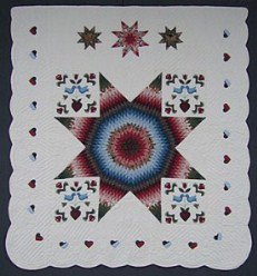 Custom Amish Quilts - Distlefink Lone Star Blue Rose Applique
