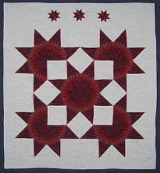 Custom Amish Quilts - Red Merlot Lone Star in Broken Stars Patchwork