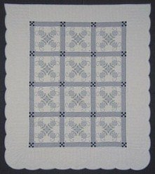 Custom Amish Quilts - Hand Embroidered Blue Flower Nine Patch Patchwork
