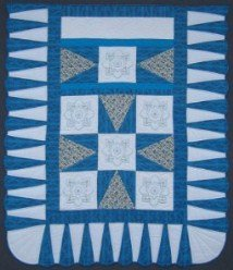 Custom Amish Quilts - Embroidered Flower Patchwork Aqua Blue