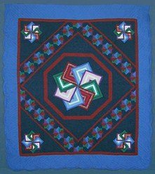 Custom Amish Quilts - Midnight Blue Spinning Star Patchwork