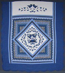 Custom Amish Quilts - Blue Country Love Applique in Commons