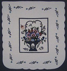 Custom Amish Quilts - Fancy Flower Basket Applique