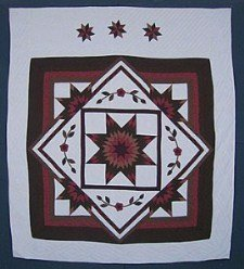 Custom Amish Quilts - Framed Lone Star Flower Burgundy Brown