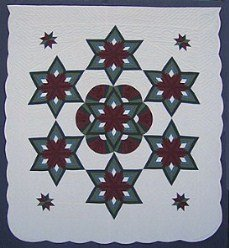 Custom Amish Quilts - Green Burgundy Fan Starburst