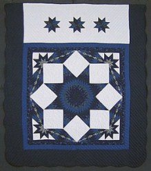 Custom Amish Quilts - Midnight Blue Broken Lone Star