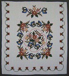 Custom Amish Quilts - Cactus Flower Gold Blue Applique