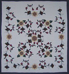 Custom Amish Quilts - Sunflower Vine Applique Flower
