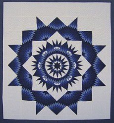 Custom Amish Quilts - Mariners Compass Royal Blue Star