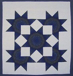 Custom Amish Quilts - Royal Blue Lone Star in Broken Star