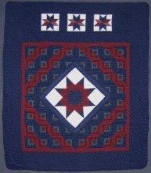 Custom Amish Quilts - Star Log Cabin Blue Burgundy
