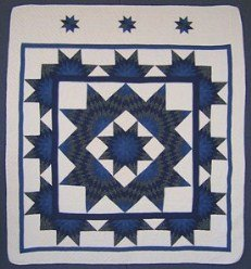 Custom Amish Quilts - Framed Lone Star in Starburst Patchwork