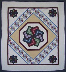 Custom Amish Quilts - Colorful Spinning Star Patchwork
