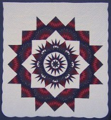Custom Amish Quilts - Red Blue Compass Starburst