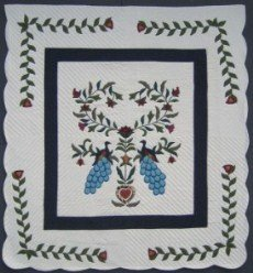 Custom Amish Quilts - Peacock Flower Tree Applique Blue Green