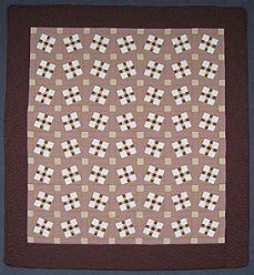 Custom Amish Quilts - Brown Crazy Nine Patch Patchwork