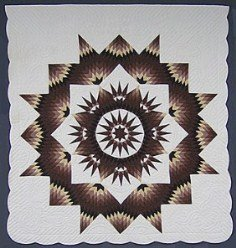 Custom Amish Quilts - Brown Mariners Compass Star Patchwork