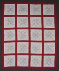 Custom Amish Quilts - Red White Hand Embroidery Patchwork