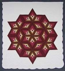 Custom Amish Quilts - Completed Fan Star Burgundy Tan