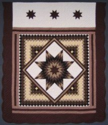 Custom Amish Quilts - Trip Around Lone Star Chocolate Brown
