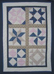 Custom Amish Quilts - Blue Rose Sampler Small Quilt Wall Hanging